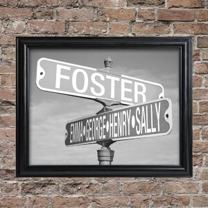 'Street Sign' Framed 1 Piece Photographic Print Set in Black and White by JDS Personalized Gifts