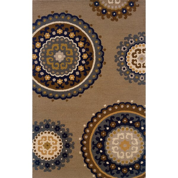 Maxson Hand-Made Taupe/Blue Area Rug by Red Barrel Studio