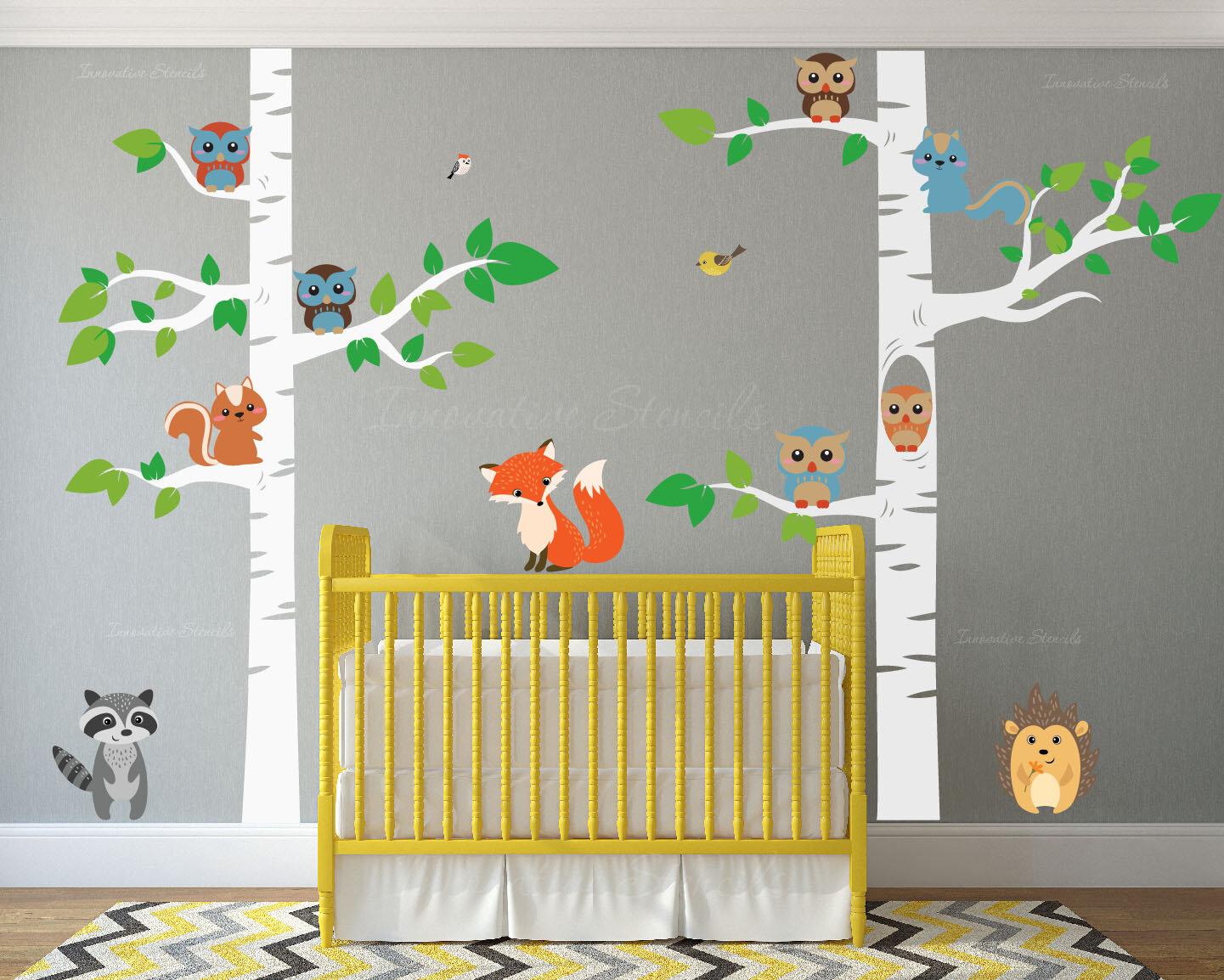12 Piece Birch Tree Nursery Wall Decal Set Reviews Allmodern