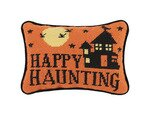 Happy Haunting Needlepoint Wool Lumbar Pillow by Peking Handicraft