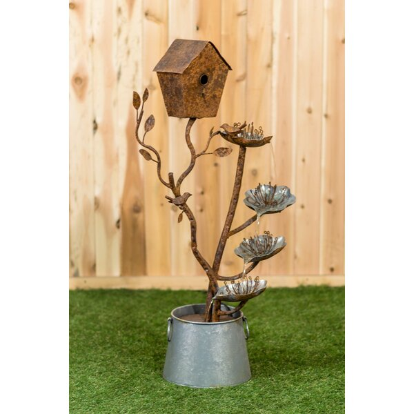 Metal Birdhouse with a Bird and leaves in a Pail Fountain by Hi-Line Gift Ltd.