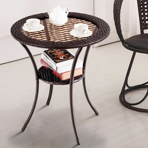 Peralta Rattan Wicker Coffee Table by Bay Isle Home