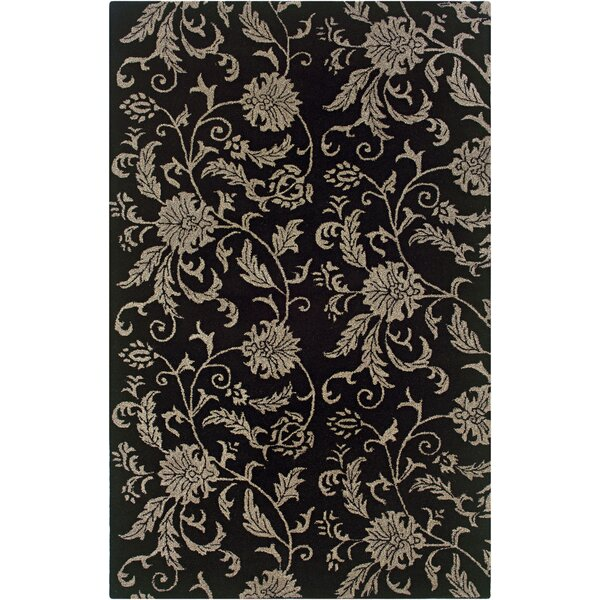 Uthiramerur Hand-Tufted Black Area Rug by Meridian Rugmakers