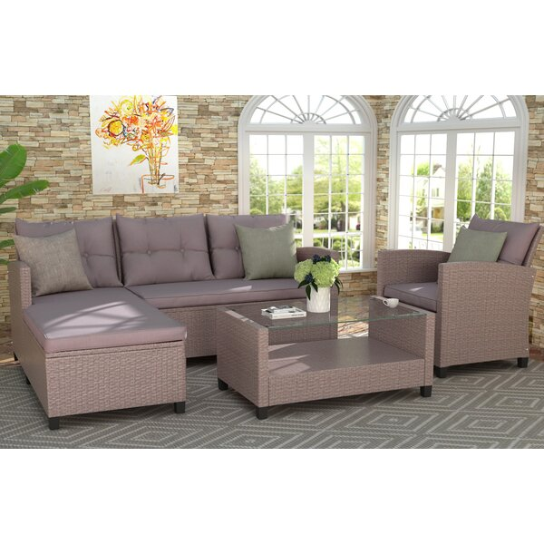 Cooleemee 4 Piece Rattan Sectional Seating Group with Cushions by Latitude Run