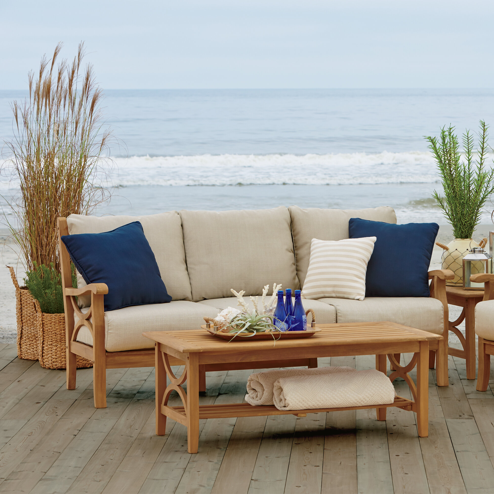 Brunswick Teak Patio Sofa With Cushions