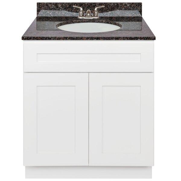 Stiltner 30 Vanity Cabinet Alpina White + Absolute Black Granite Top + Faucet by Winston Porter