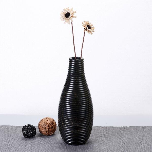 Keper Bottle Round Ripple Mango Wood Table Vase by Bay Isle Home