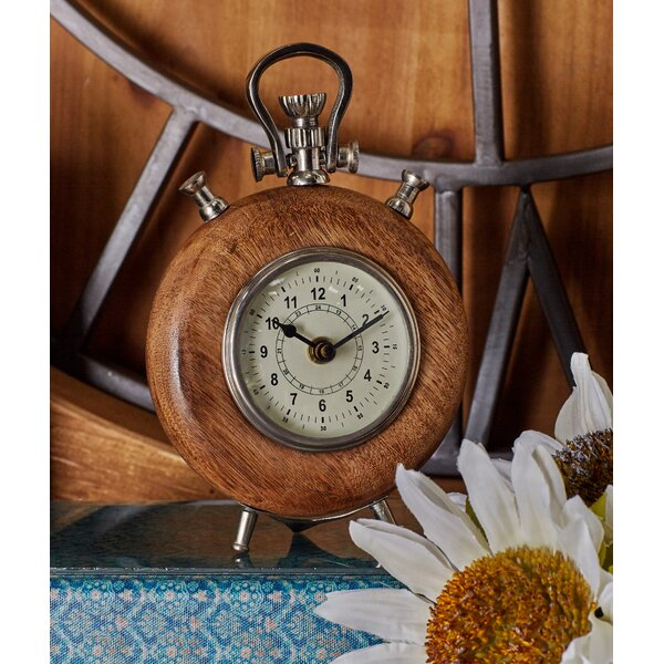 Wood and Metal Table Clock by Cole & Grey