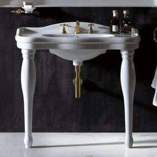 Read Reviews Contea Ceramic 40 Console Bathroom Sink with Overflow By WS Bath Collections