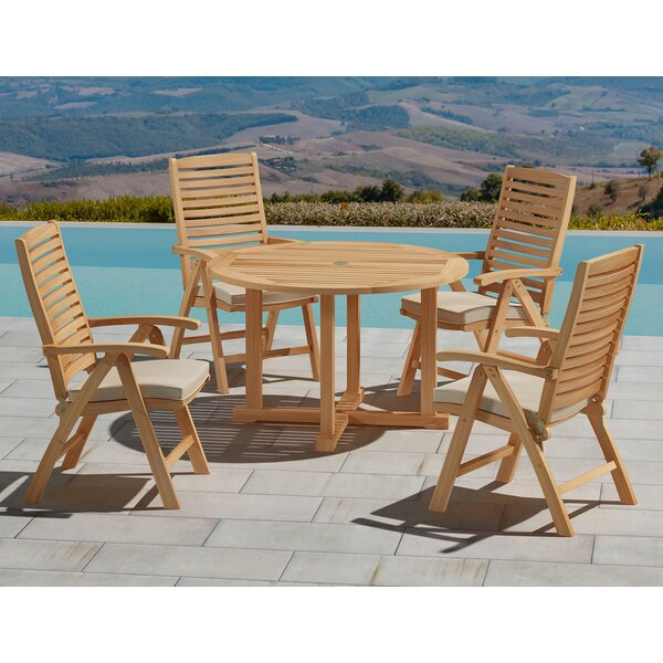 Dutton 5 Piece Teak Dining Set with Cushions by Rosecliff Heights