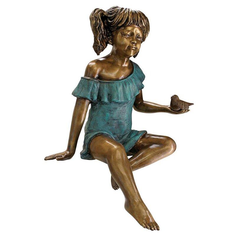Bridgette With Bird, Little Girl Garden Statue