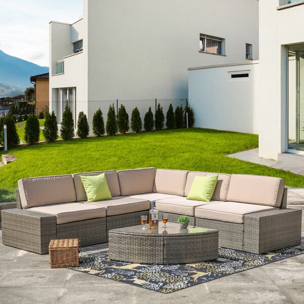 Alitzah Outdoor 6 Piece Sectional Seating Group with Cushions by Latitude Run