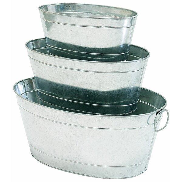 Petite Potager 3-Piece Galvanized Aluminum Pot Planter Set by ACHLA
