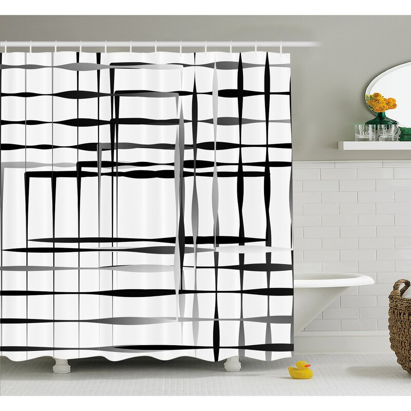 Minimalist Image With Simplistic Spaces And Spare Asymmetric Grids Shower Curtain Set