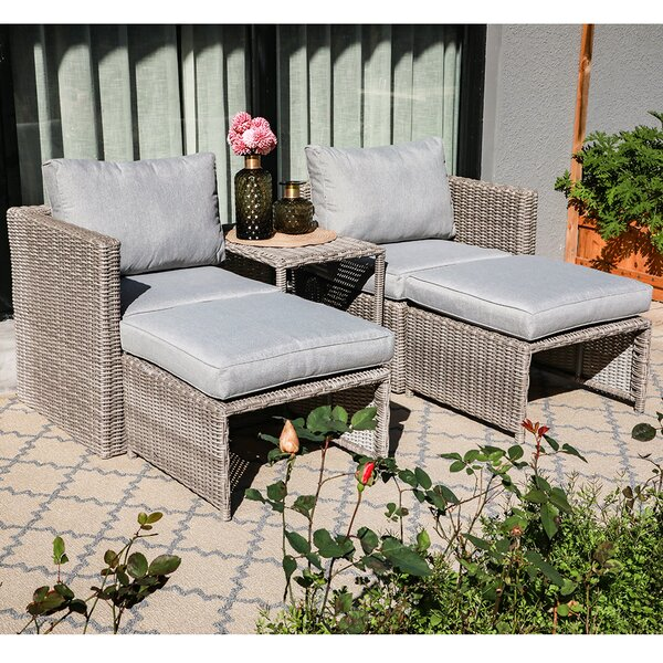 Osteen 5 Piece Rattan Sectional Seating Group with Cushions by Highland Dunes