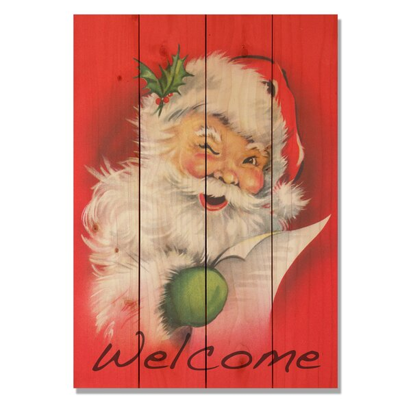 4 Piece Wile E. Wood Welcome Santa Painting Print