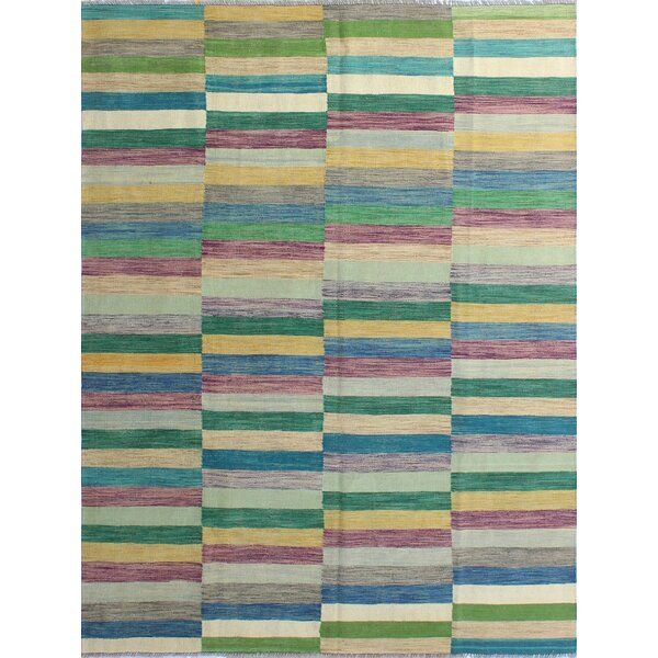 Dickie Hand-Knotted Wool Green/Beige Area Rug by Bloomsbury Market