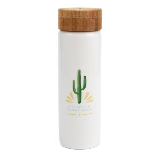 Hanning Okay to be a Little Prickly 20 oz. Glass Water Bottle by Hallmark Home & Gifts
