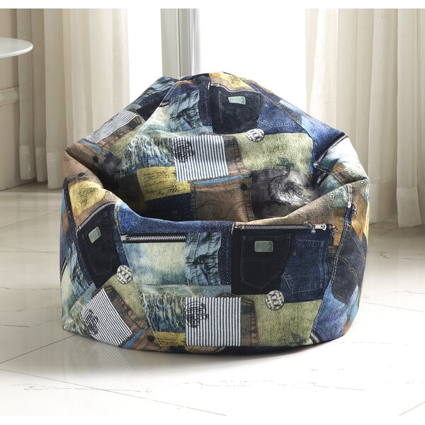 Print Denim Bean Bag Chair by Zipcode Design
