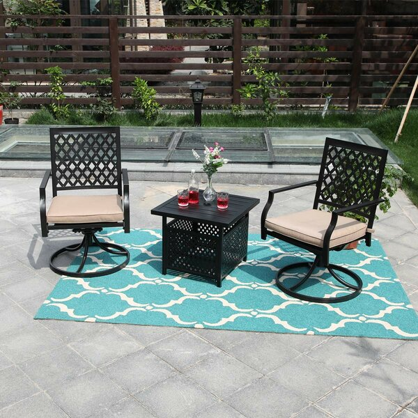 Rothsay All-Weather Comfort 3 Piece Dining Set with Cushions by Fleur De Lis Living