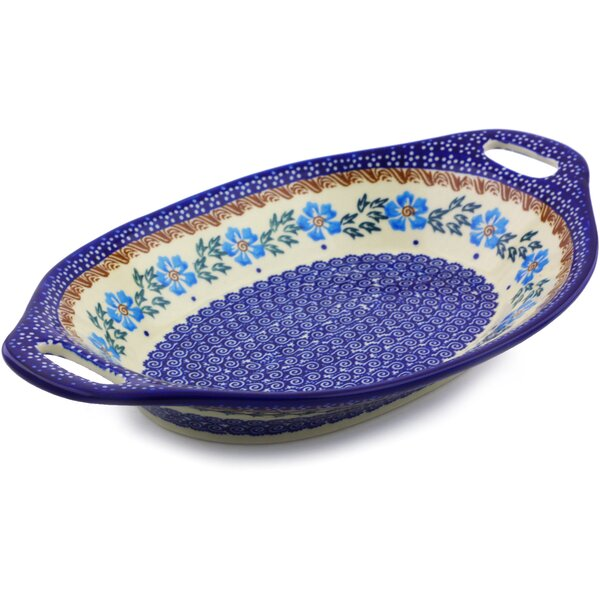 Cornflower Dessert/Salad Bowl with Handles by Polmedia