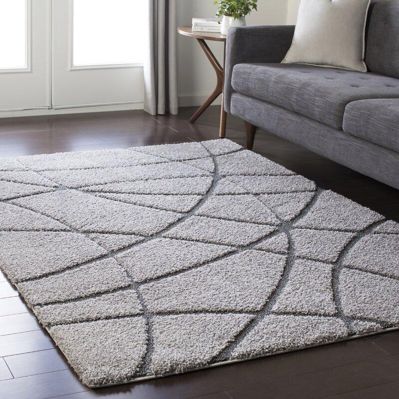 wrought studio marketfield soft abstract modern shag gray area rug  u0026 reviews