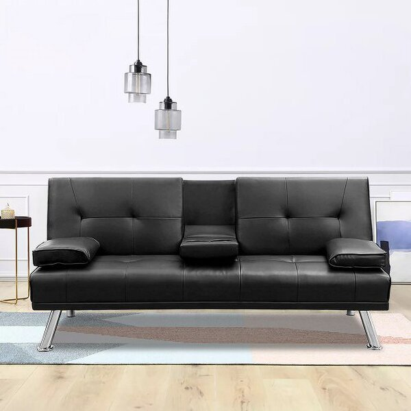 Modern Faux Leather Convertible Futon Couch Sofa Fold Up And Down Recliner Sofa Sleeper With 2 Cup Holders And Sturdy Metal Legs By Ebern Designs