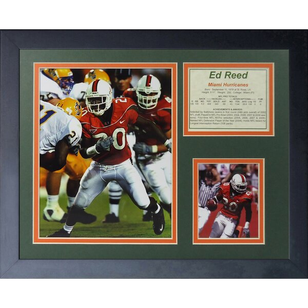 Ed Reed - Miami Hurricanes Framed Photographic Print by Legends Never Die