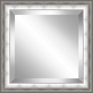 Latitude Run Square Brushed Beveled Plate Accent Mirror