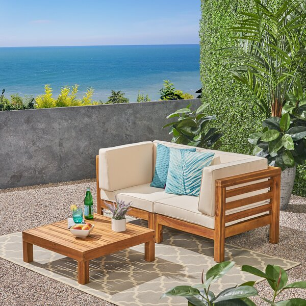 Seaham 3 Piece Teak Sofa Seating Group with Cushions by Brayden Studio Brayden Studio