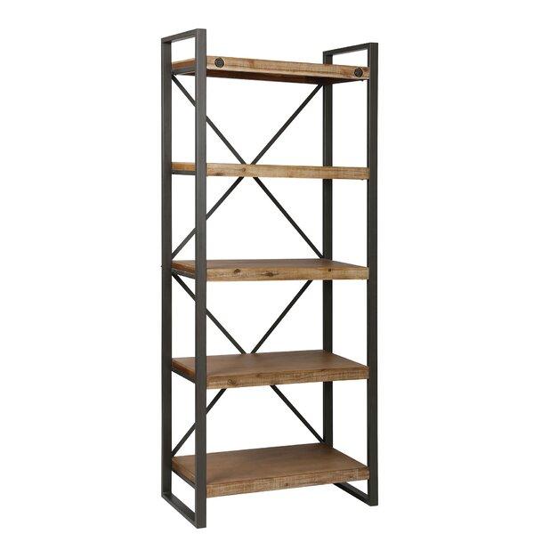 Yosemite Metal, Acacia, MDF, and Wood Veneer Etagere Bookcase by 17 Stories