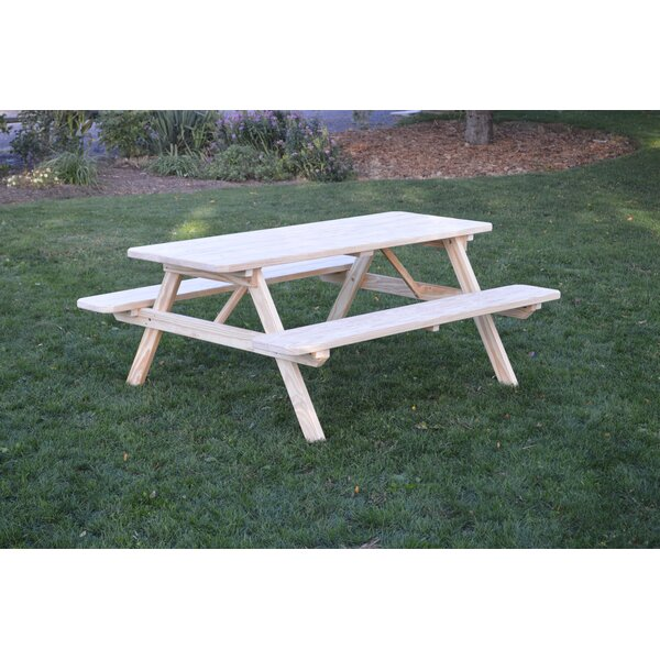 Seneca Solid Wood Picnic Table by Loon Peak Loon Peak