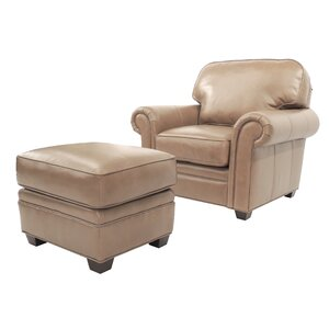 Brentford Leather Club Chair And Ottoman Darby Home Co