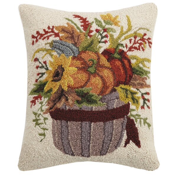 Mundell Fall Harvest Bucket Wool Throw Pillow by August Grove