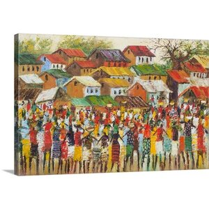 Novica- Market Day by Godwin Atta Geoman Painting Print on Gallery Wrapped Canvas by Great Big Canvas