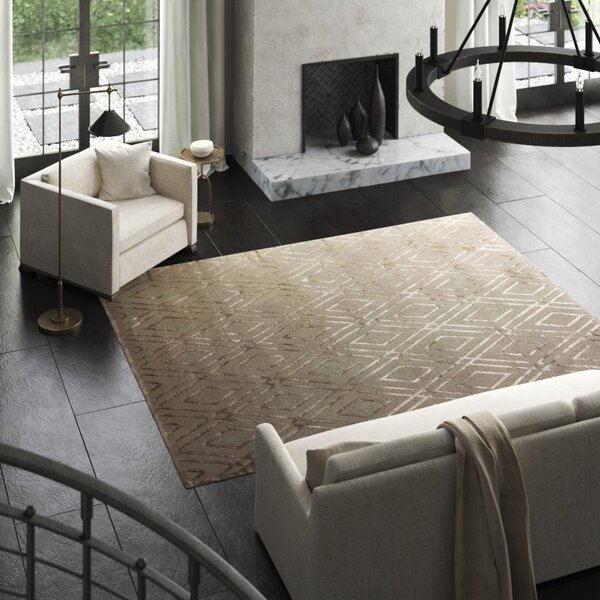 Hand-Knotted WoolSilk Gray Area Rug