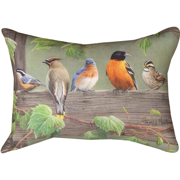Birds on a Line 3 Knife Edge Lumbar Pillow by Manual Woodworkers & Weavers