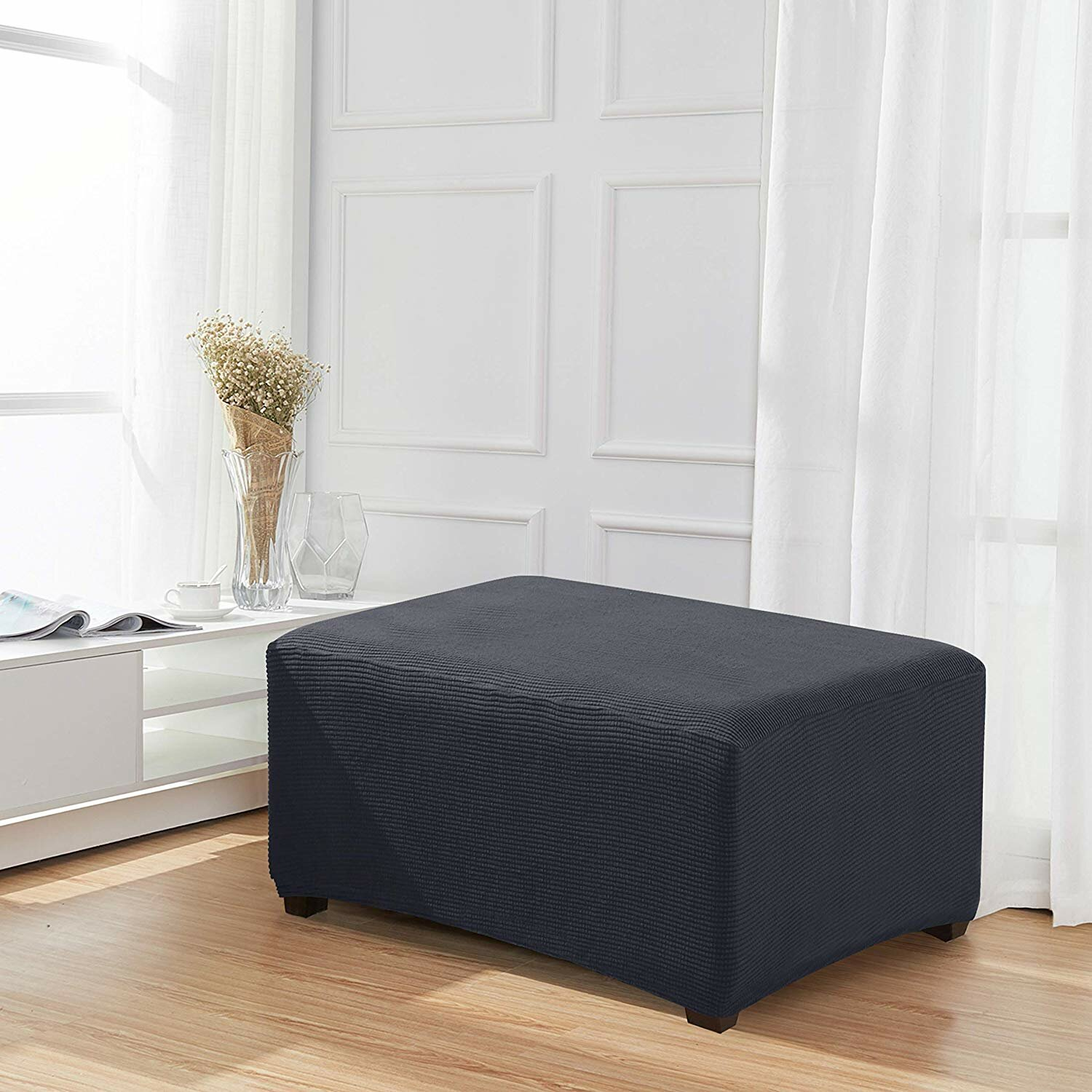 Velvet Oversize Ottoman Cover Stretch Slipcovers Footstool Furniture Protector