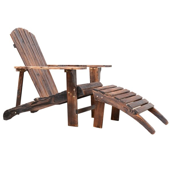 Wood Adirondack Chair with Ottoman by Outsunny