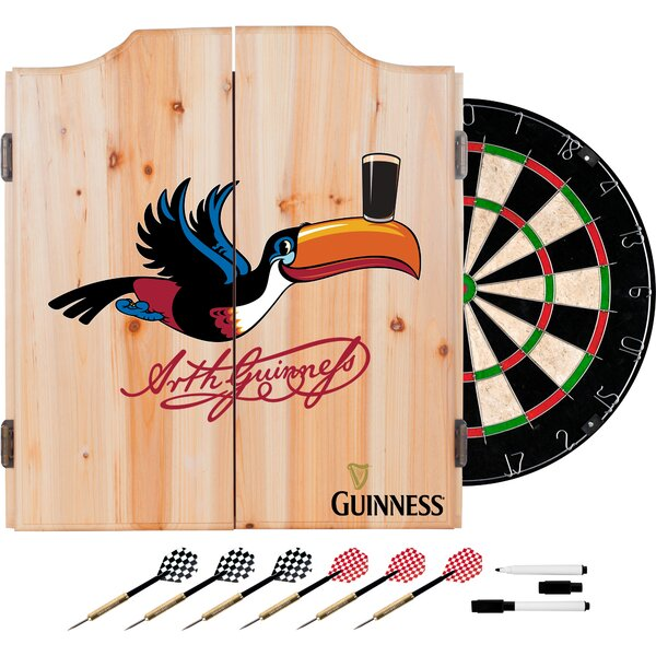 Guinness Toucan Dartboard and Cabinet Set by Trademark Global