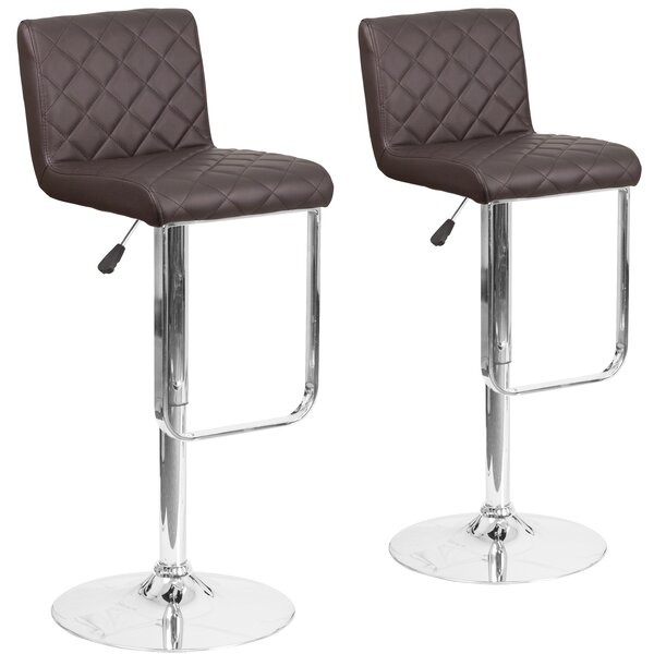 Nuzzo Adjustable Height Swivel Bar Stool (Set of 2) by Orren Ellis