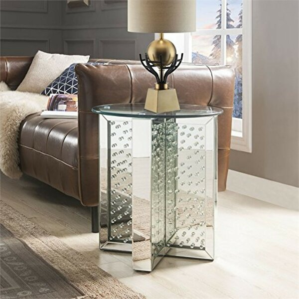 Sisson Round Mirrored Metal End Table By Orren Ellis