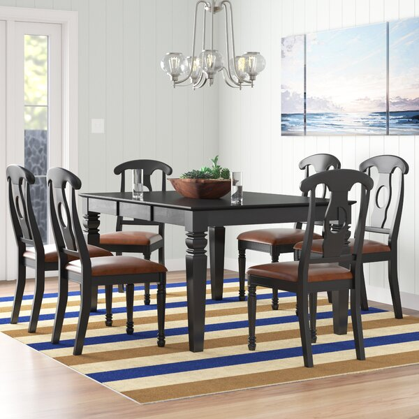 New Design Pennington 7 Piece Solid Wood Dining Set By Beachcrest Home Coupon