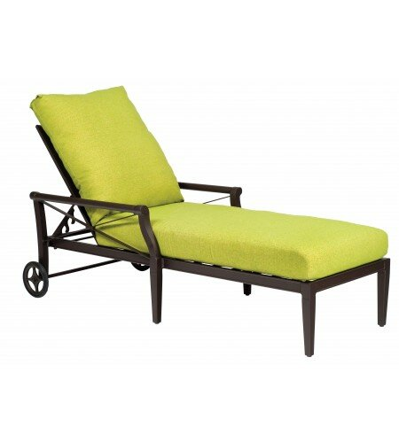Andover Reclining Chaise Lounge with Cushion by Woodard