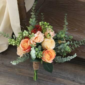 Ophelia Co Artificial Bouquet Champagne Rose Floral Arrangement Wayfair