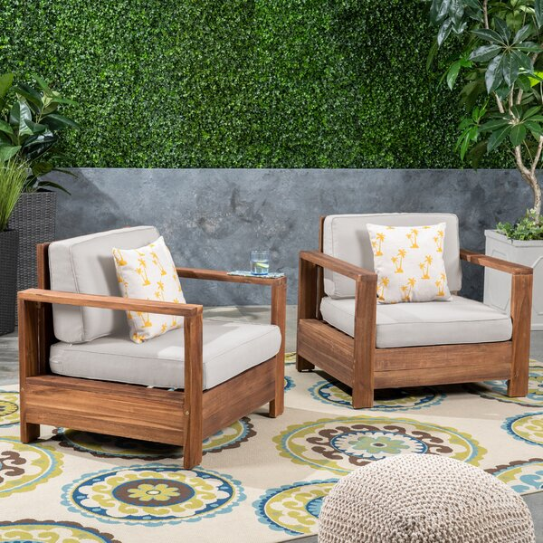 Landis Patio Chair with Cushions (Set of 2) by Rosecliff Heights