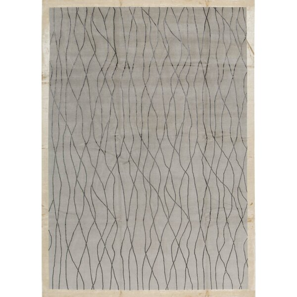 Abstract Hand-Knotted Ivory Area Rug