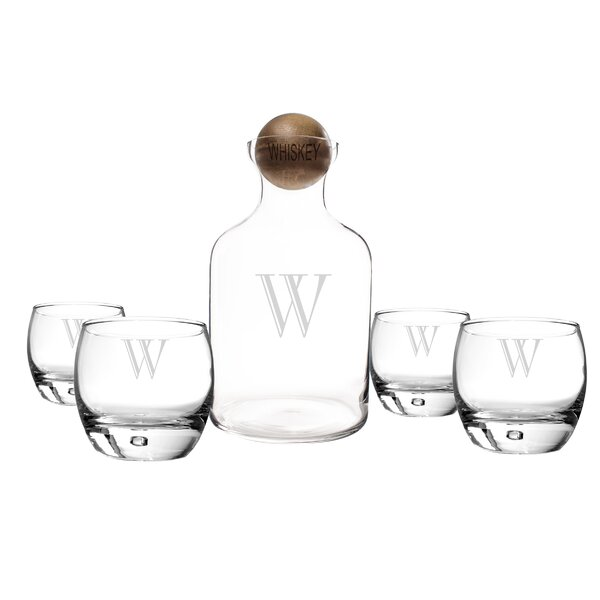 5 Piece Personalized Glass Decanter Set by Cathys Concepts