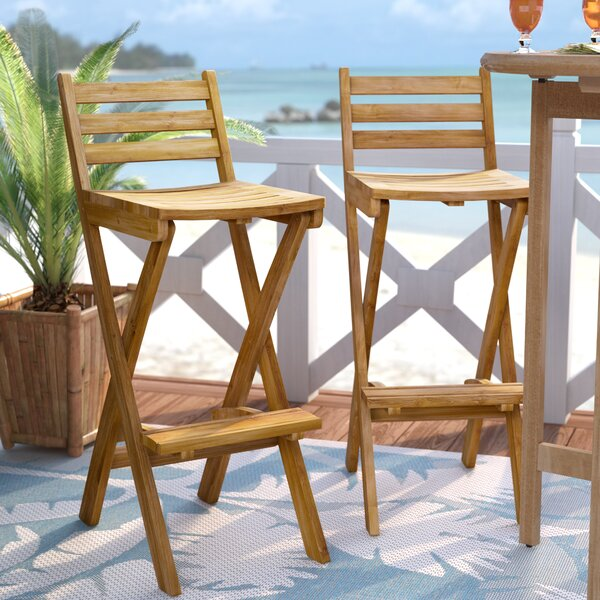 Christy 30.5 Teak Patio Bar Stool (Set of 2) by Beachcrest Home