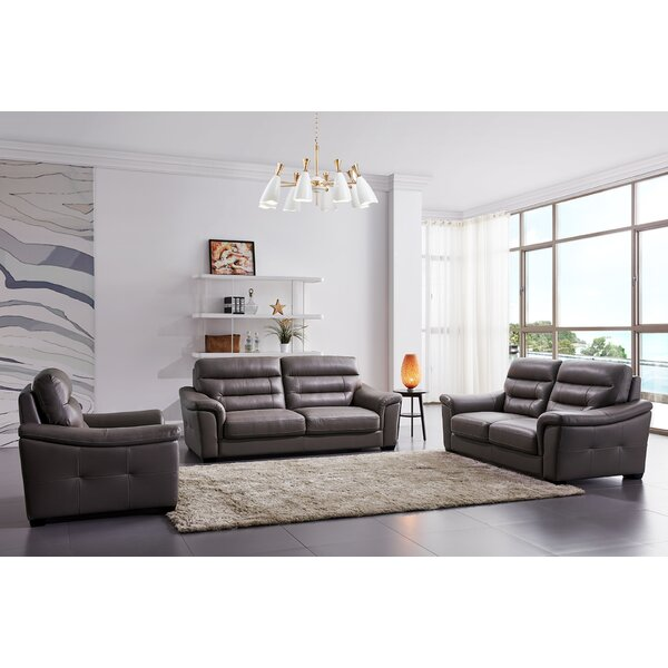 Koerner 3 Piece Leather Living Room Set by Latitude Run